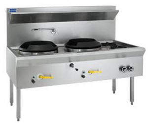 Luus WATERLESS WOK 2 CHIMNEY & 2 OPEN BURNERS