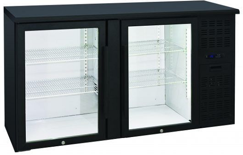 Anvil Aire Double Glass Door Backbar Fridge Black