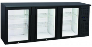 Anvil Aire Triple Glass Door Backbar Fridge Black