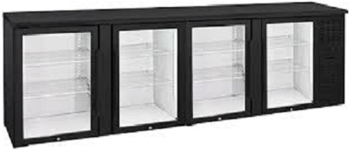 Anvil Aire Four Glass Door Backbar Fridge Black