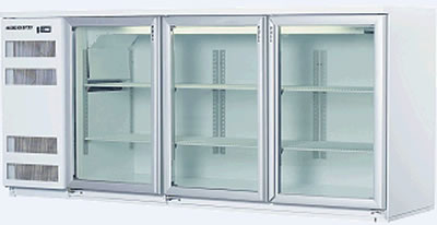 Skope 3 glass hinged door Backbar Fridge in white Finish