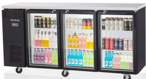 Skipio Back Bar Triple Glass Door Fridge On Castors Black