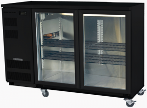 Skope double glass hinged door Backbar Fridge in black Finish