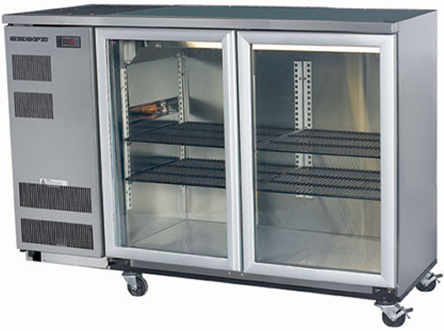 Skope double glass hinged door Backbar Fridge in Stainless Finish