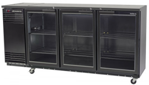 Skope 3 glass hinged door Backbar Fridge in Black Finish ACTIVE CORE