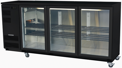 Skope 3 glass hinged door Backbar Fridge in Black Finish
