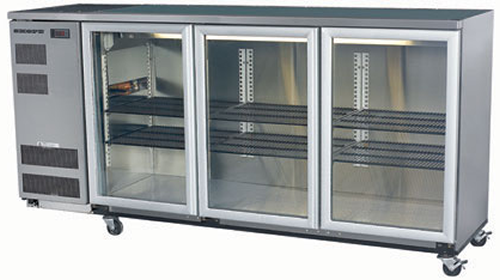 Skope 3 glass hinged door Backbar Fridge in Stainless Finish