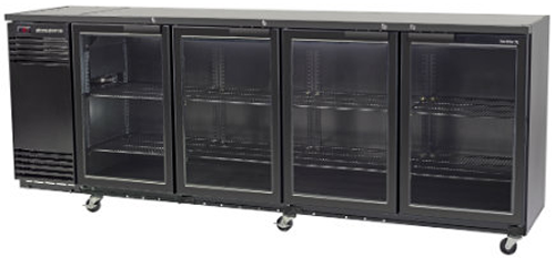Skope 4 glass hinged door Backbar Fridge in Black Finish Active Core