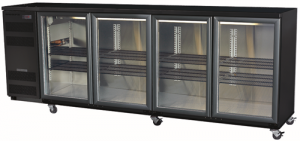 Skope 4 glass hinged door Backbar Fridge in Black Finish