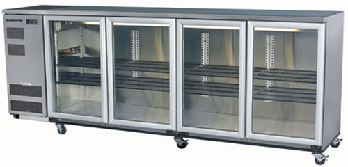 Skope 4 glass hinged door Backbar Fridge in Stainless Finish