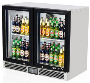 Skipio Back Bar Double Glass Door Fridge Black