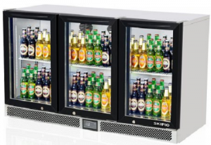 Skipio Back Bar 3 Glass Door Fridge Black