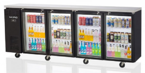 Skipio Back Bar 4 x Glass Door Fridge On Castors Black