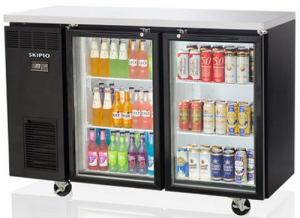 Skipio Back Bar Double Glass Door Fridge On Castors Black