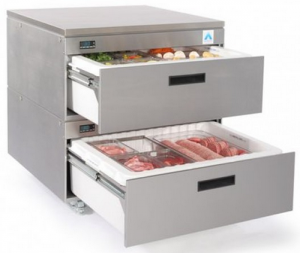 Adande two refrigerated Drawer Counter Fridge cover top on Rollers