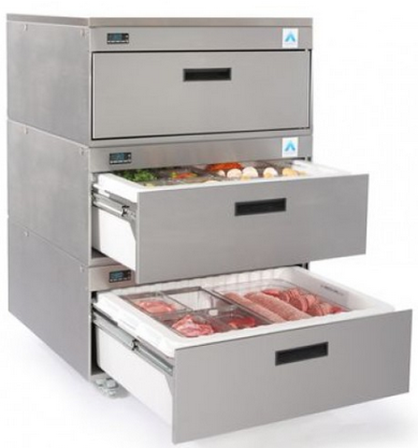 Adande three refrigerated Drawer Counter Fridge Cover top on Casters