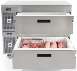 Adande two refrigerated Drawer under Counter Fridge cover top on standard casters