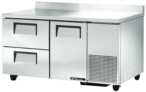 True Deep Work Top Bench Fridge with one Door two refrigerated Drawers