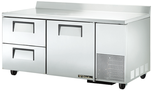 True Large Deep Work Top Bench Fridge with one Door two refrigerated Drawers
