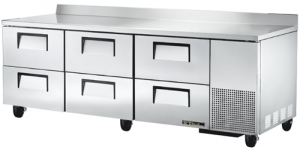 True Deep Work Top Bench Fridge with six refrigerated Drawers