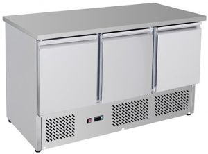 FED Compact Tropicalised three solid Door Bench Fridge