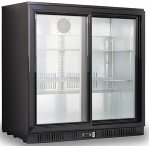 FED Black Magic Two glass door Bar Fridge 835mm high sliding doors