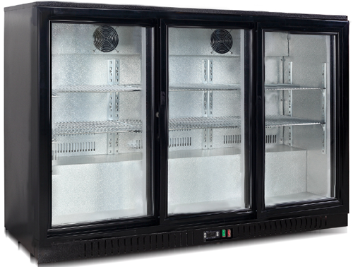 FED Black Magic Three glass door Bar Fridge 835mm high sliding doors