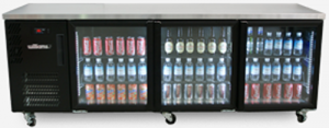 Williams Boronia Star three Glass Door Bar or counter Fridge Black