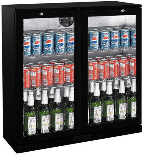 FED Black Magic Two glass door Bar Fridge 835mm high