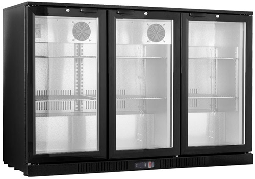 FED Black Magic Three glass door Bar Fridge 830mm high Hinged doors