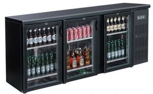FED Black Magic DELUXE Three glass door Bar Fridge