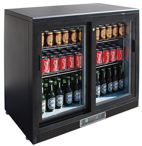 FED Black Magic Double glass Sliding door Bar Fridge