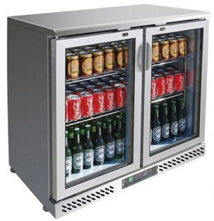 FED Double glass door Stainless Steel Bar Fridge
