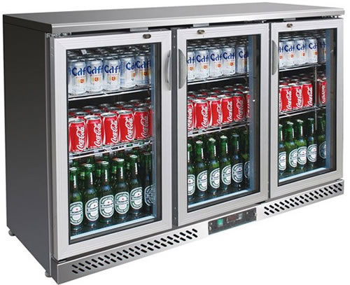 FED Three glass door Stainless Steel Bar Fridge