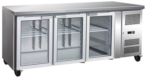 FED Three glass door Under Counter Bar Fridge