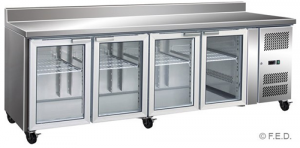 FED four glass door Under Counter Bar Fridge with SPLASHBACK