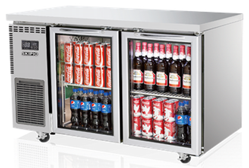 Skipio double glass door under counter Bench Fridge 309Lt