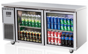 Skipio double glass door under counter Bench Fridge 420Lt