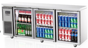 Skipio 3 glass door under counter Bench Fridge 516Lt