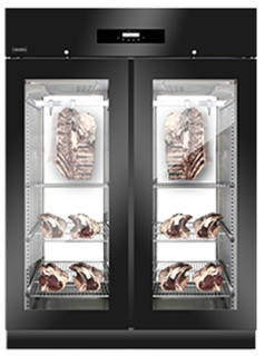 Everlasting Double Glass door with glass back Dry Aging Cabinet Black