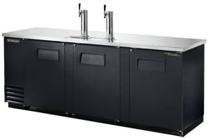 True Three door Keg Fridge Black Finish