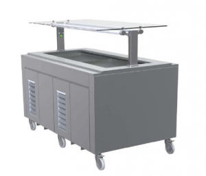 FPG 4 PAN HOT FOOD BAR WITH FLAT SELF SERVE GLASS