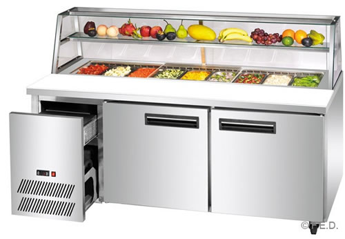 FED Thermaster two door Sandwich Counter Prep Fridge