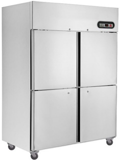 Thermaster 4 Over 4 Solid Door Vertical Fridge 1425mm Wide