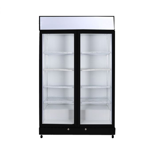 Bromic LED Double Glass Door Upright Display Fridge With Lightbox GM1000LW ECO Black