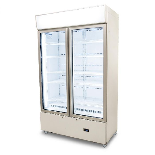 Bromic LED Double Cassette Glass Door Upright Display Fridge With Lightbox GM1000LCASW White