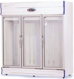 Anvil Aire three glass door upright display Fridge White