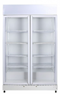 Bromic LED Double Glass Door Upright Display Fridge With Lightbox GM1000LW ECO White