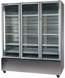 Skope 3 glass door vertical Fridge bottom mount with Active Core Technology