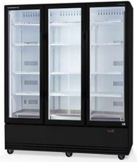 Skope 3 glass door vertical Fridge bottom mount with Active Core Technology BLACK